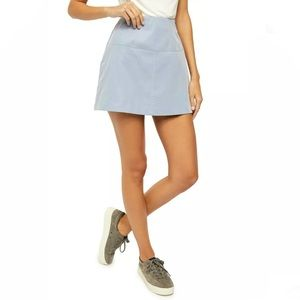 NEW FREE PEOPLE BLUE FAUX SUEDE MINI SKIRT SIZE 12